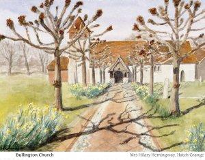 Bullington Church Hampshire Painting Postcard