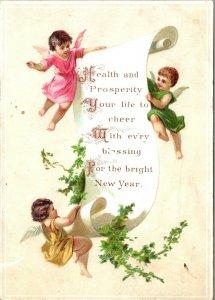 Vintage New Year Postcard CUPIDS - VINTAGE VICTORIAN ERA