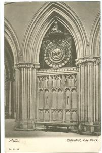 UK, Wells, Cathedral, The Clock, 1904 used Postcard