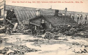 LPS35 Erie Pennsylvania 1915 Flood 12th and 13th on French Streets Postcard