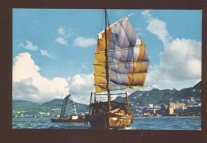 HONG KONG CHINA CHINESE HARBOR FISHING BOATS VINTAGE POSTCARD