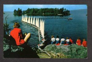 ME Luther Gulick Camps Sebago Lake South Casco Maine Postcard Sailboats PC
