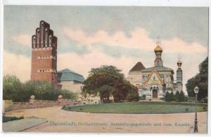 Darmstadt, Hochzeitsturm, Ausstellungsgebaude und russ Kapel