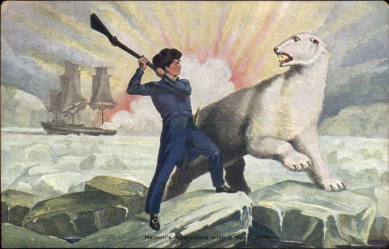 British Navy Lord Horatio Nelson FIGHTING POLAR BEAR c1910 Postcard