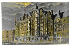York PA Colonial Hotel Night Vintage Wallick's Postscard