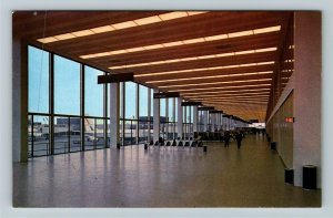 Chicago IL- Illinois, O'Hare Intl Airport, Waiting Room, Chrome Postcard