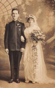 Baltimore Maryland Groom and Bride Wedding Real Photo Antique Postcard J75108