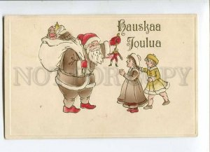 279773 NEW YEAR Brown SANTA CLAUS Kids vintage FINLAND PC
