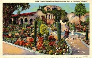 California Mission San Juan Capistrano Front Garden Showing Campanario & Part...