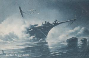 Shipwreck Disaster Wreck On The Beach Tucks Rare Ship Antique Oilette Postcard