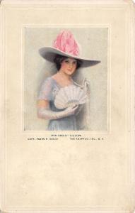 Frank Desch~Lillian~Lovely Lady~Pearls~Fold Fan~Elbow Gloves~Pink Feather Hat