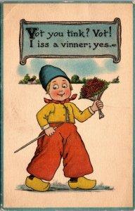 Vintage Dutch Kids Romance Postcard Boy w/ Flowers I Iss a Vinner; Yes c1914