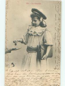 foreign 1903 Fashion Postcard FRENCH GIRL WITH ANTIQUE HANDBAG PURSE AC3228
