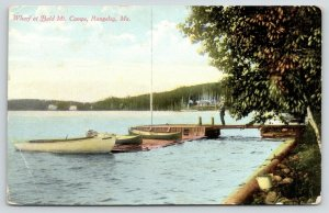 Rangeley Maine~Canoes on Wharf~Bald Mt Camps~Fella on Dock~Shoreline Cabins~1910