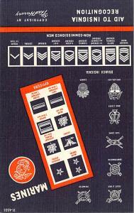Patriotic Post Card Old Vintage Antique Postcard Marines, Aid to Insignia Rec...