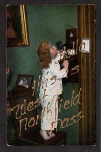 MA Hello from WEST NORTHFIELD MASS PC Child & Old Phone Massachusetts