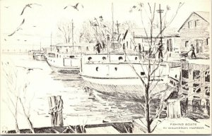 Waukegan Illinois~Mathon's Restaurant~Harbor Fishing Boats~1940s B&W Artist Adv