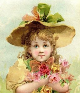 1894 Easter Lion Coffee Woolson Spice Co. Adorable Girl In Yellow Fab! *D