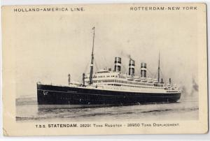 Holland-America Line, Steamer T.S.S. Statendam