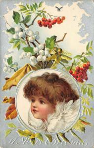 Victorian Christmas~Brown-Eyed Brundage Angel Girl~Silver Back Vignette~Embossed