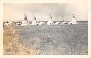 Native Americana~Montana Niitsitapi Tribe~Blackfeet Teepees~1940 Real Photo~RPPC