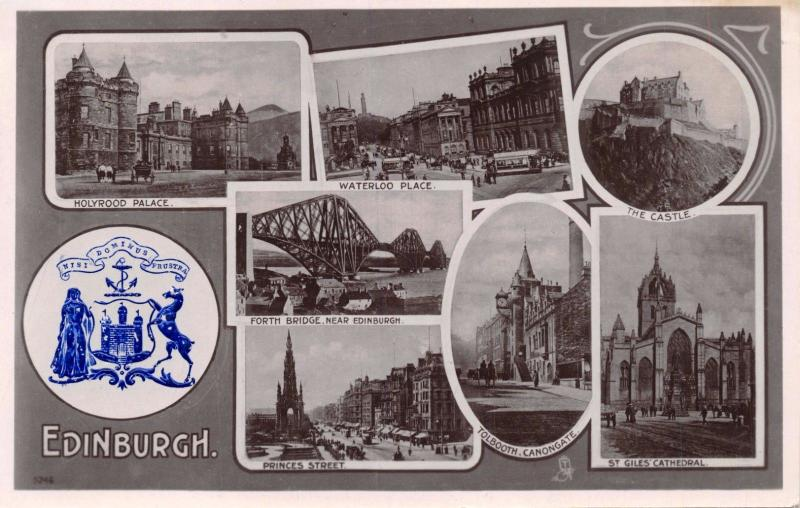 EDINBURGH SCOTLAND UK~EMBOSSED BLUE COAT OF ARMS TUCKS PHOTO VIEW POSTCARD