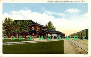 1916 Rocky Mount NC PC Atlantic Coast Line Depot Trackside