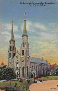 Cathedral Immaculate Conception Fort Wayne Indiana linen postcard