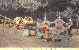 Early Japanese Girls Playing Postcard