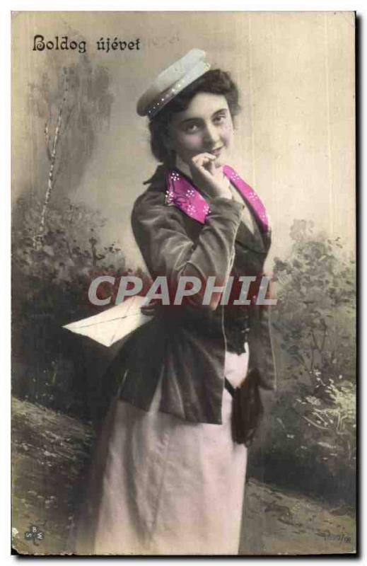 Fantaisie - Femme - Woman with sassy cap (carte hongroise Hungary Hongrie) CPA