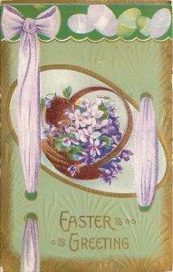Easter Egg Panorama Serie~Lime Lavender~Ribbon~Violets Basket~Gold~Emboss~1911