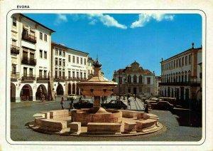 Portugal Evora Geraldo Square Fountain Vintage Cars Postcard