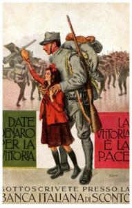 Banca Italiana di Sconto, WWI Soldier and Daughter saying good bye