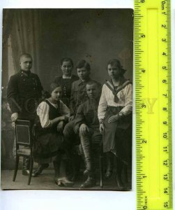 198070 Russia Family w/ BADGES Vintage REAL PHOTO 1918