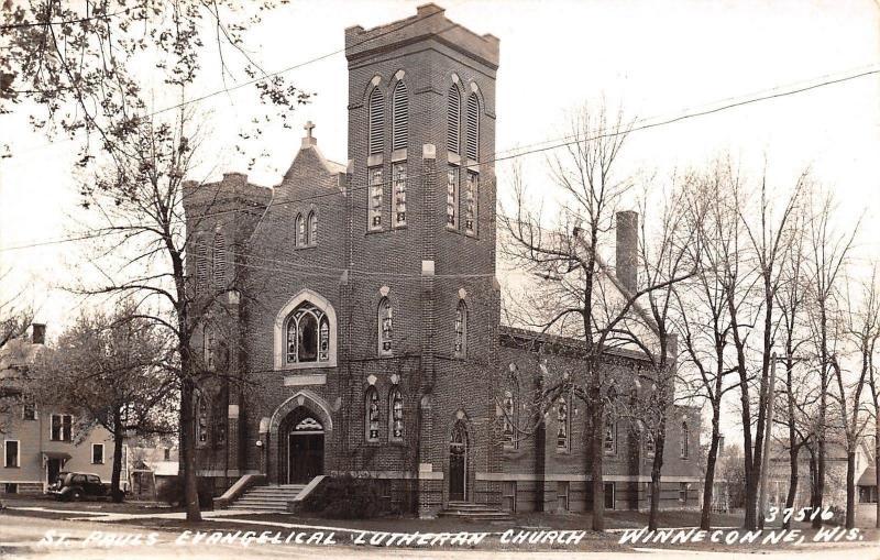 Winneconne WI~St Paul's Evangelical Lutheran Church Neighborhood~1930s RPPC