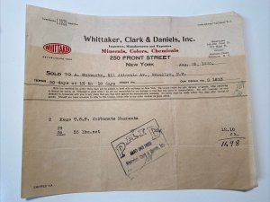 RARE 1920 Whittaker Clark & Daniels MINERALS COLORS CHEMICALS New York Billhead