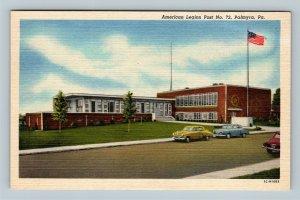 Palmyra PA, American Legion Post 72, Vintage Linen Pennsylvania Postcard