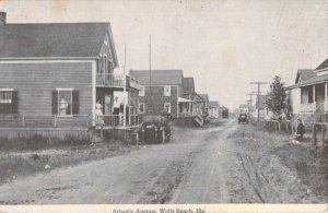 Atlantic Avenue Wells Beach Maine ME Photo Litho Old Cars Divided Back Unused PC