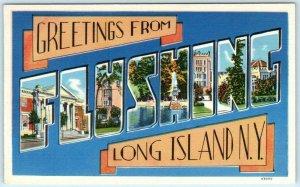 Large Letter Linen FLUSHING, LONG ISLAND, NEW YORK NY  c1940s Tomlin  Postcard