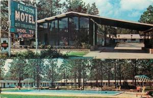 Folkston Georgia~Folkston Motel~Neon Sign~Carport~Pool~1965 Postcard