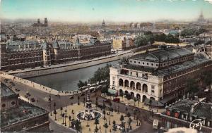 France Paris, Panorama sur la place du Chatelet et le palais de Justice 1951