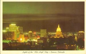 Lights of the Mile High City, Denver, Colorado, unused Po...