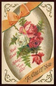 h2162- Greeting Postcard 1912 Embossed Gilded Roses