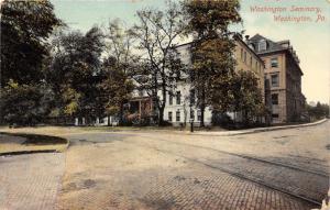 Washington Pennsylvania~Washington Seminary~Tracks in Cobblestone Street~1910 Pc
