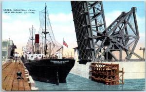 New Orleans, Louisiana Postcard Locks, Industrial Canal Steamships Linen 1940s