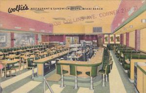 Florida Miami Beach Interior Wolfie's Restaurant and Sandwich Shops Curteich