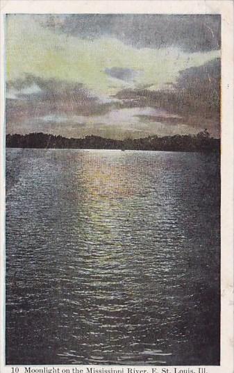 Illinois East Saint Louis Moonlight On The Mississippi River 1910