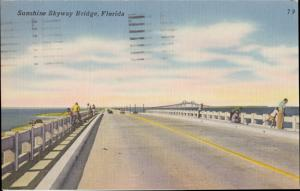 ST PETERSBURG, FL fishing on SUNSHINE SKYWAY bridge DEMOLISHED, 1950s