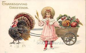 Thanksgiving Old Vintage Antique Postcard Post Card Advertising on back, Ment...