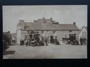 Cornwall AT THE LIZARD showing HILL'S HOTEL Old Car & Omnibus - Old Postcard